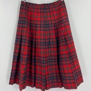 Vintage Pendleton Virgin Wool Pleated Plaid Skirt